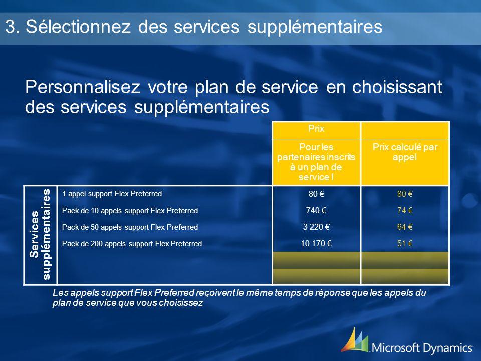 3. Sélectionnez des services supplémentaires Personnalisez votre plan de service en choisissant des services supplémentaires Prix Pour les partenaires