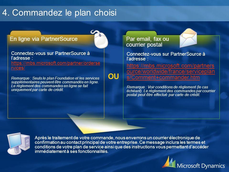 4. Commandez le plan choisi Connectez-vous sur PartnerSource à ladresse : https://mbs.microsoft.com/partner/orderse rvices/ https://mbs.microsoft.com/