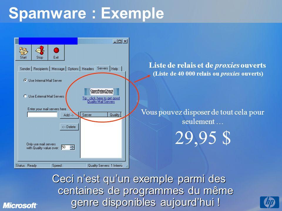 Spamware : Exemple Ceci nest quun exemple parmi des centaines de programmes du même genre disponibles aujourdhui ! Liste de relais et de proxies ouver