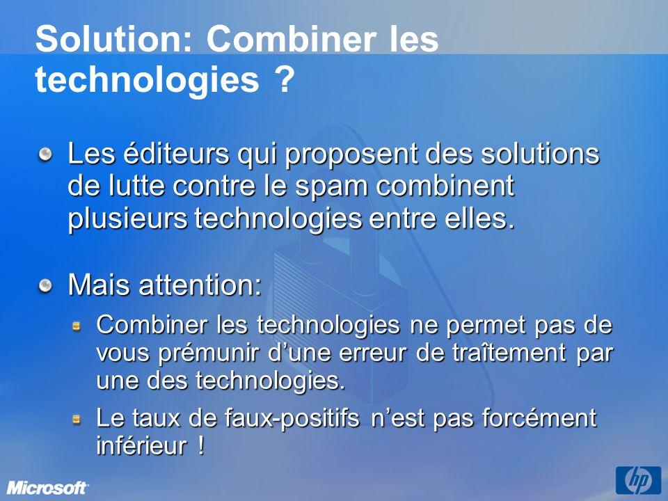 Solution: Combiner les technologies ? Les éditeurs qui proposent des solutions de lutte contre le spam combinent plusieurs technologies entre elles. M