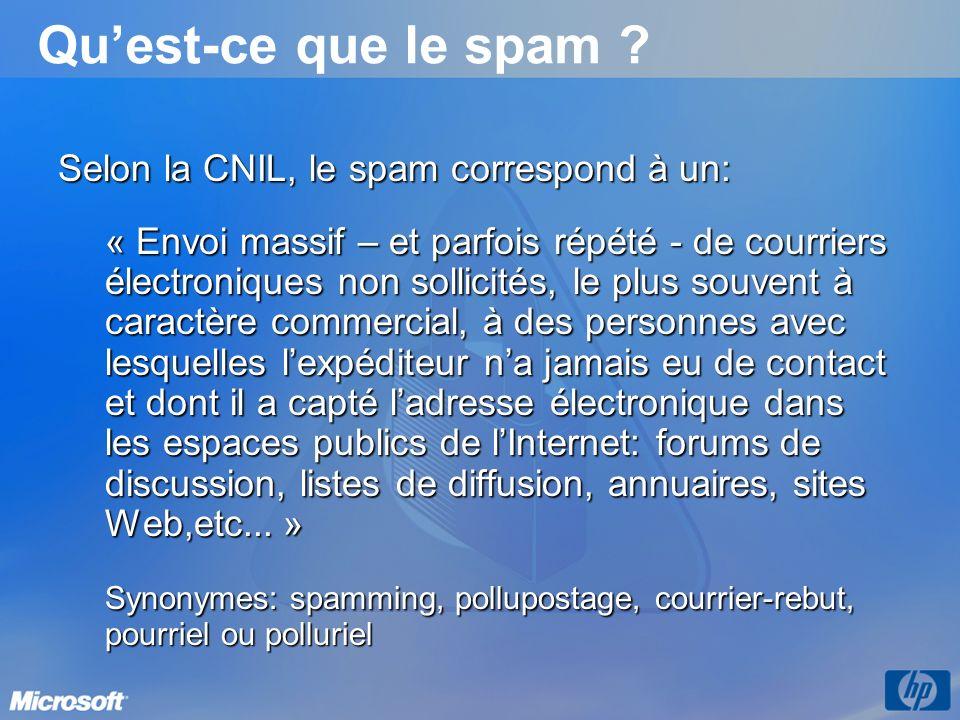 Selon la CNIL, le spam correspond à un: « Envoi massif – et parfois répété - de courriers électroniques non sollicités, le plus souvent à caractère co