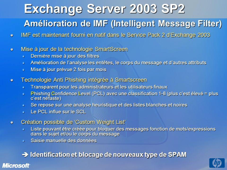 IMF est maintenant fourni en natif dans le Service Pack 2 dExchange 2003 Mise à jour de la technologie SmartScreen Dernière mise à jour des filtres Am