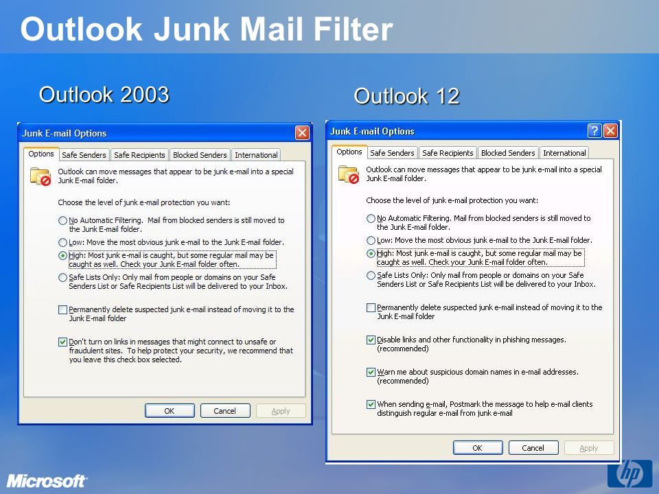 Outlook Junk Mail Filter Outlook 2003 Outlook 12