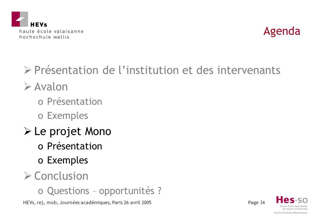 HEVs, rej, mob, Journées académiques, Paris 26 avril 2005Page 34 Agenda Présentation de linstitution et des intervenants Avalon oPrésentation oExemple