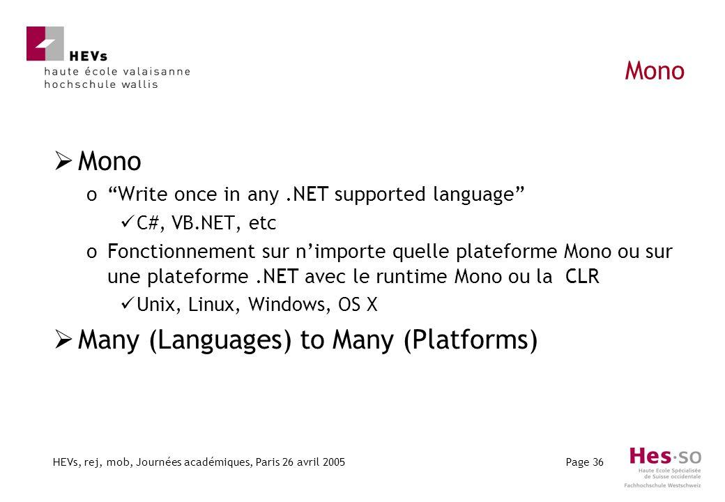 HEVs, rej, mob, Journées académiques, Paris 26 avril 2005Page 36 Mono oWrite once in any.NET supported language C#, VB.NET, etc oFonctionnement sur ni