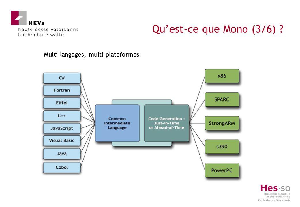 Multi-langages, multi-plateformes Quest-ce que Mono (3/6)