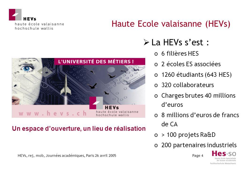 HEVs, rej, mob, Journées académiques, Paris 26 avril 2005Page 4 Haute Ecole valaisanne (HEVs) Un espace douverture, un lieu de réalisation La HEVs ses