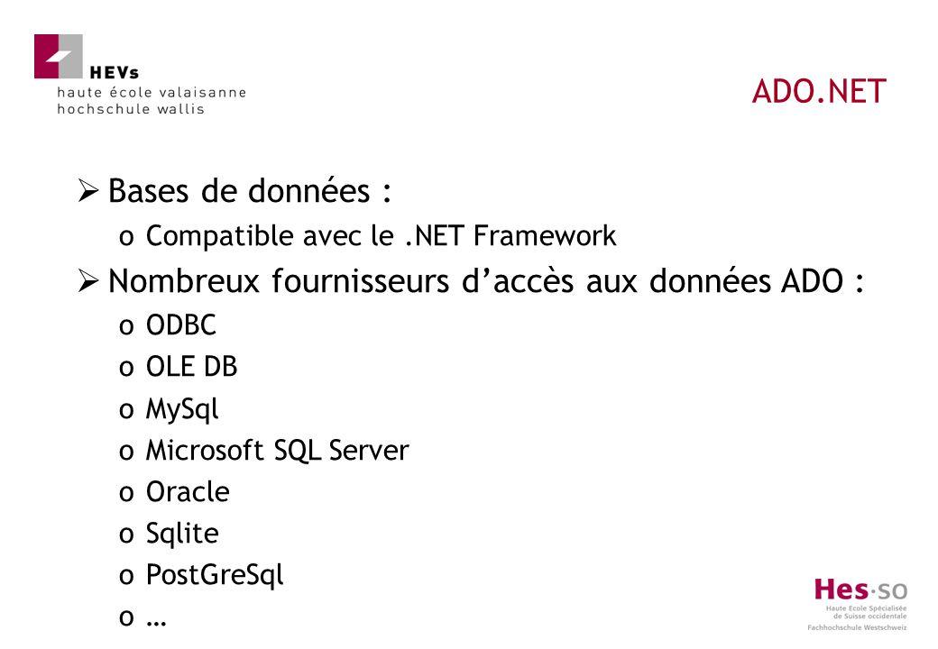 Bases de données : oCompatible avec le.NET Framework Nombreux fournisseurs daccès aux données ADO : oODBC oOLE DB oMySql oMicrosoft SQL Server oOracle oSqlite oPostGreSql o… ADO.NET