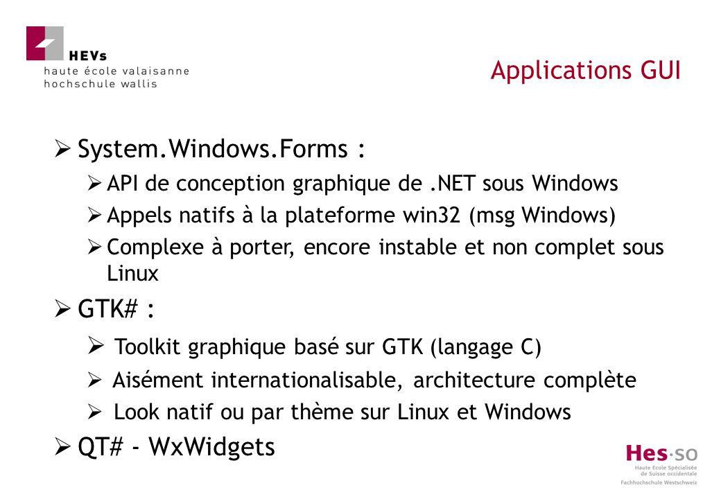 System.Windows.Forms : API de conception graphique de.NET sous Windows Appels natifs à la plateforme win32 (msg Windows) Complexe à porter, encore ins