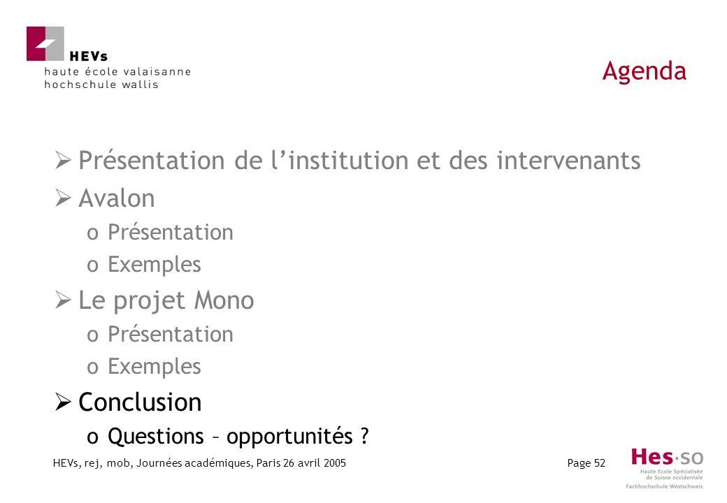 HEVs, rej, mob, Journées académiques, Paris 26 avril 2005Page 52 Agenda Présentation de linstitution et des intervenants Avalon oPrésentation oExemple