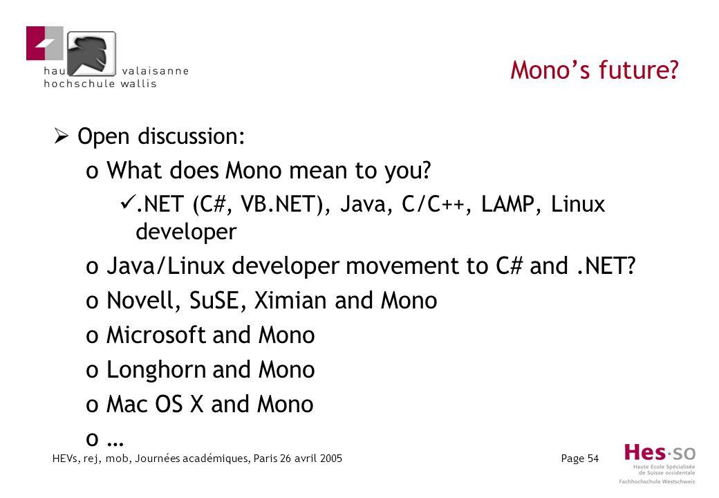 HEVs, rej, mob, Journées académiques, Paris 26 avril 2005Page 54 Monos future? Open discussion: oWhat does Mono mean to you?.NET (C#, VB.NET), Java, C