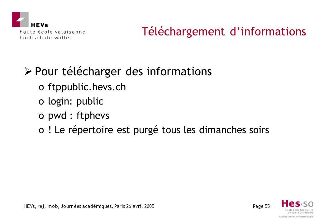 HEVs, rej, mob, Journées académiques, Paris 26 avril 2005Page 55 Téléchargement dinformations Pour télécharger des informations oftppublic.hevs.ch ologin: public opwd : ftphevs o.