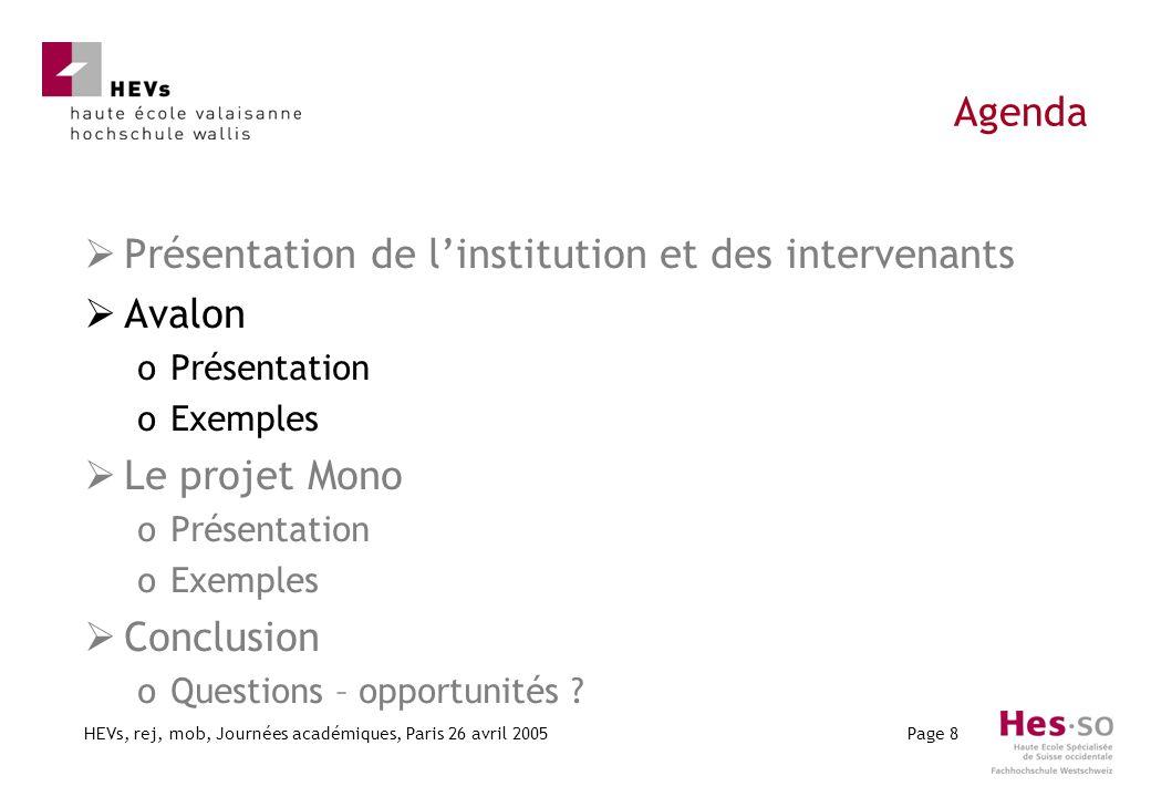 HEVs, rej, mob, Journées académiques, Paris 26 avril 2005Page 8 Agenda Présentation de linstitution et des intervenants Avalon oPrésentation oExemples