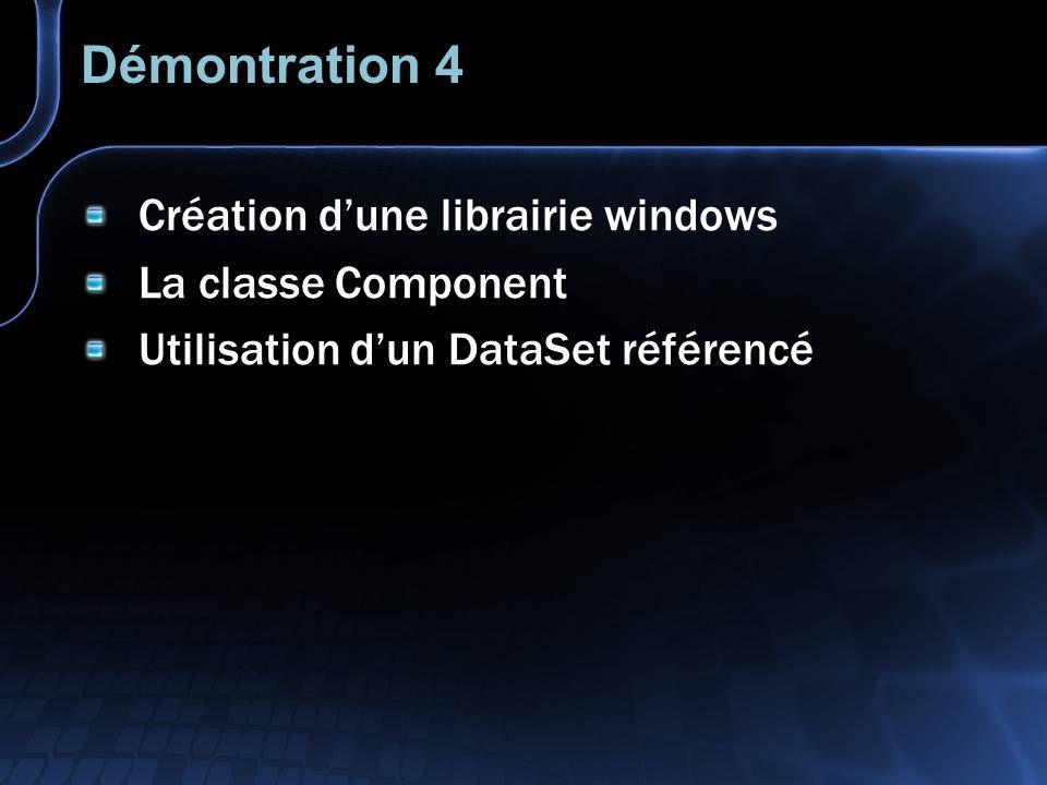 Démontration 4 Création dune librairie windows La classe Component Utilisation dun DataSet référencé