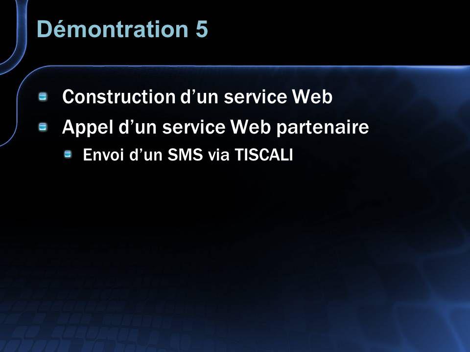 Démontration 5 Construction dun service Web Appel dun service Web partenaire Envoi dun SMS via TISCALI