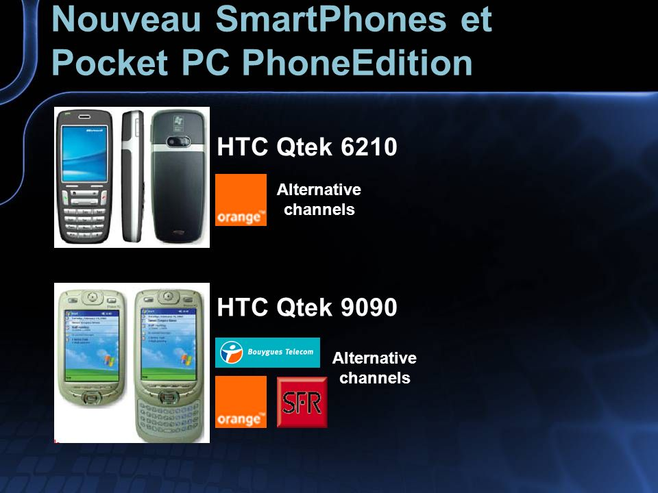 Nouveau SmartPhones et Pocket PC PhoneEdition HTC Qtek 6210 Alternative channels HTC Qtek 9090 Alternative channels