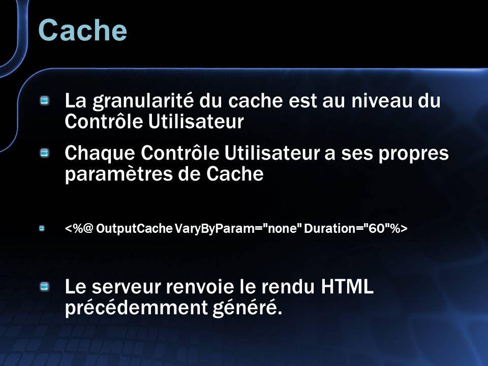 Cache La granularité du cache est au niveau du Contrôle Utilisateur Chaque Contrôle Utilisateur a ses propres paramètres de Cache Le serveur renvoie le rendu HTML précédemment généré.