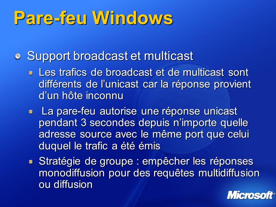 Pare-feu Windows Support broadcast et multicast Les trafics de broadcast et de multicast sont différents de lunicast car la réponse provient dun hôte