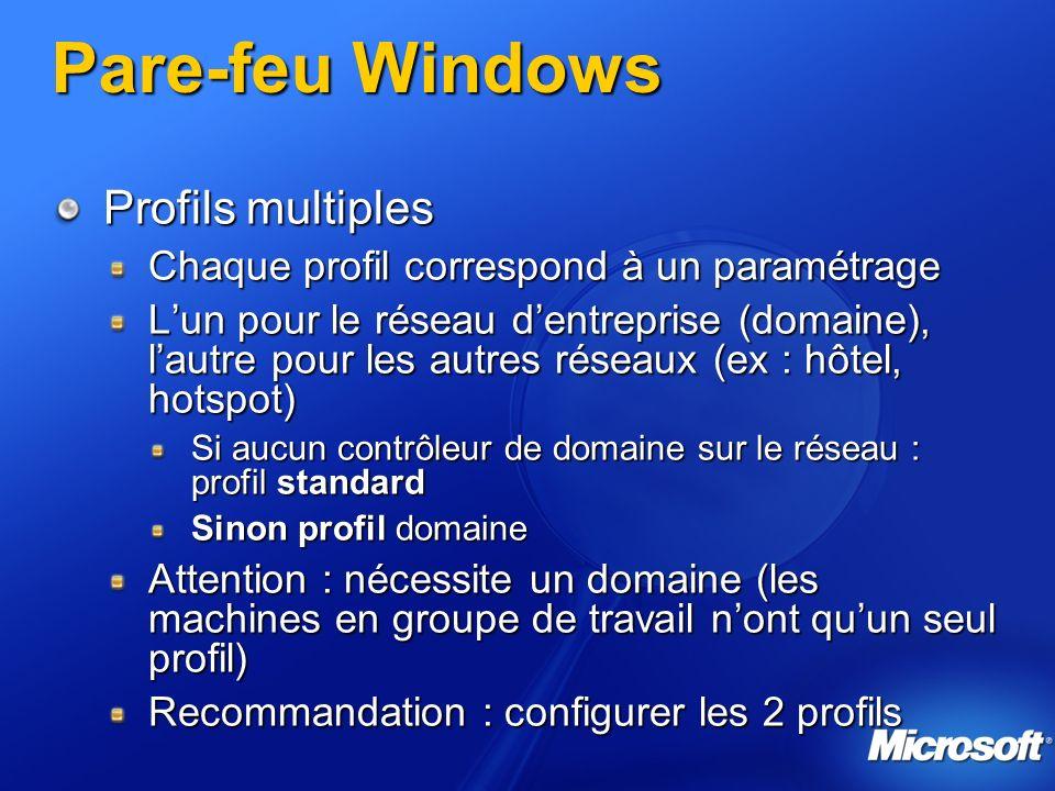Pare-feu Windows Profils multiples Chaque profil correspond à un paramétrage Lun pour le réseau dentreprise (domaine), lautre pour les autres réseaux (ex : hôtel, hotspot) Si aucun contrôleur de domaine sur le réseau : profil standard Sinon profil domaine Attention : nécessite un domaine (les machines en groupe de travail nont quun seul profil) Recommandation : configurer les 2 profils