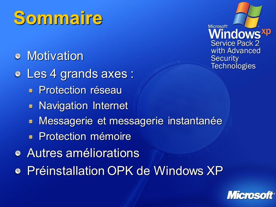 Sommaire Motivation Les 4 grands axes : Protection réseau Navigation Internet Messagerie et messagerie instantanée Protection mémoire Autres améliorat