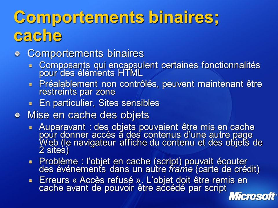 Comportements binaires; cache Comportements binaires Composants qui encapsulent certaines fonctionnalités pour des éléments HTML Préalablement non con