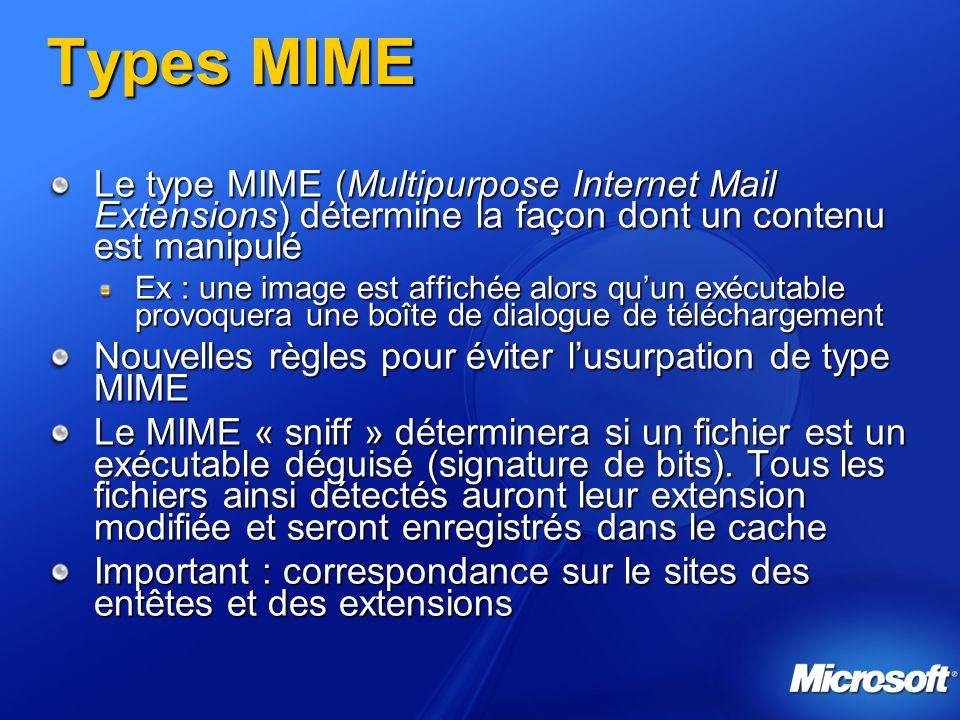 Types MIME Le type MIME (Multipurpose Internet Mail Extensions) détermine la façon dont un contenu est manipulé Ex : une image est affichée alors quun
