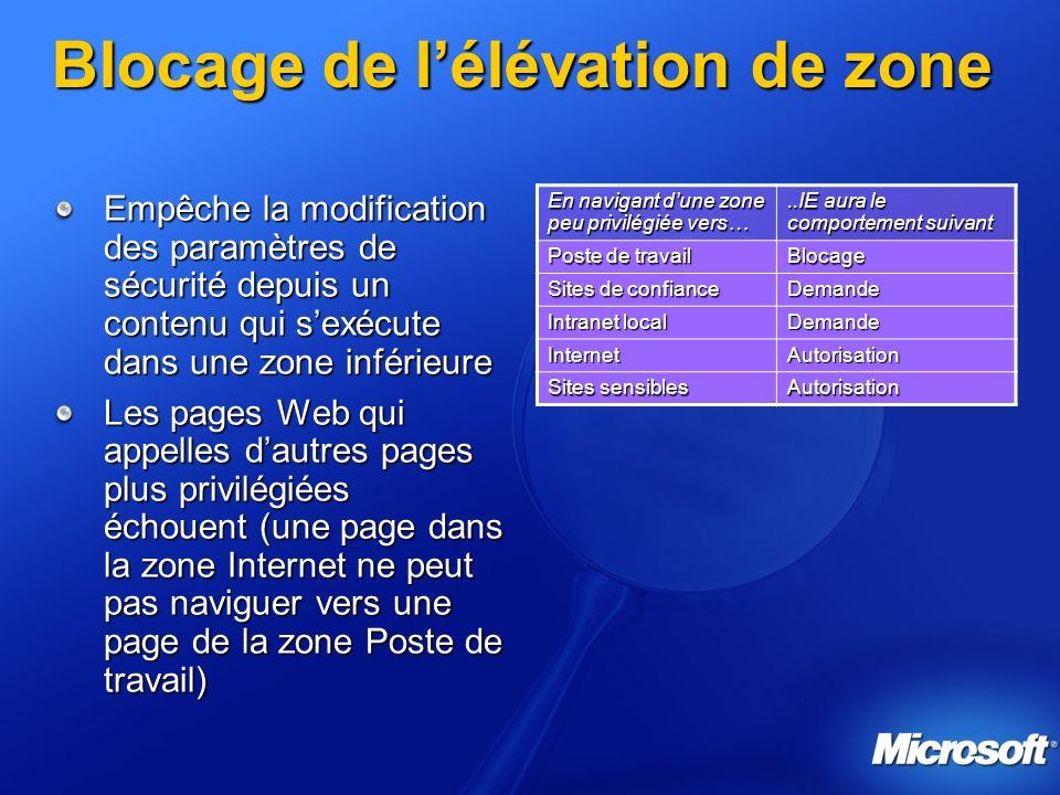 Blocage de lélévation de zone Empêche la modification des paramètres de sécurité depuis un contenu qui sexécute dans une zone inférieure Les pages Web