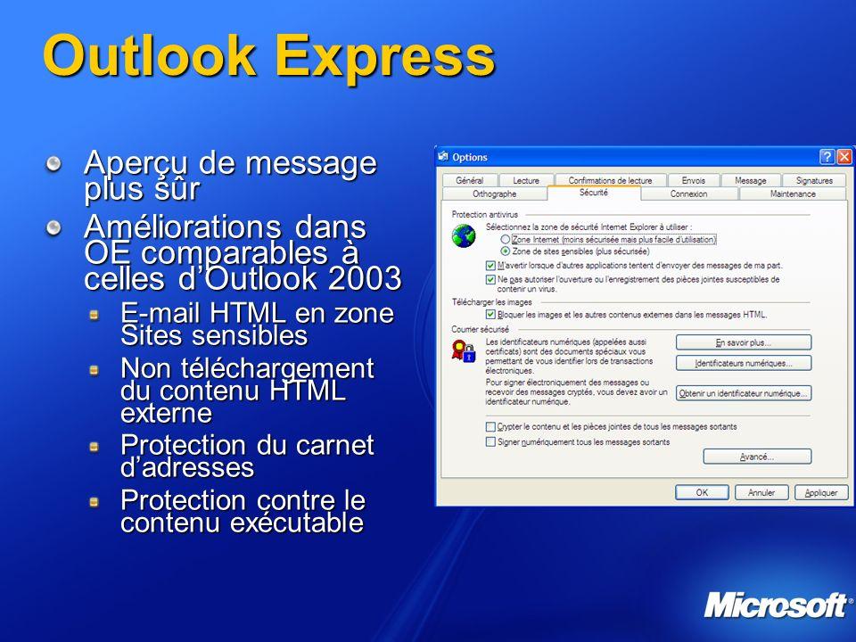 Outlook Express Aperçu de message plus sûr Améliorations dans OE comparables à celles dOutlook 2003 E-mail HTML en zone Sites sensibles Non téléchargement du contenu HTML externe Protection du carnet dadresses Protection contre le contenu exécutable