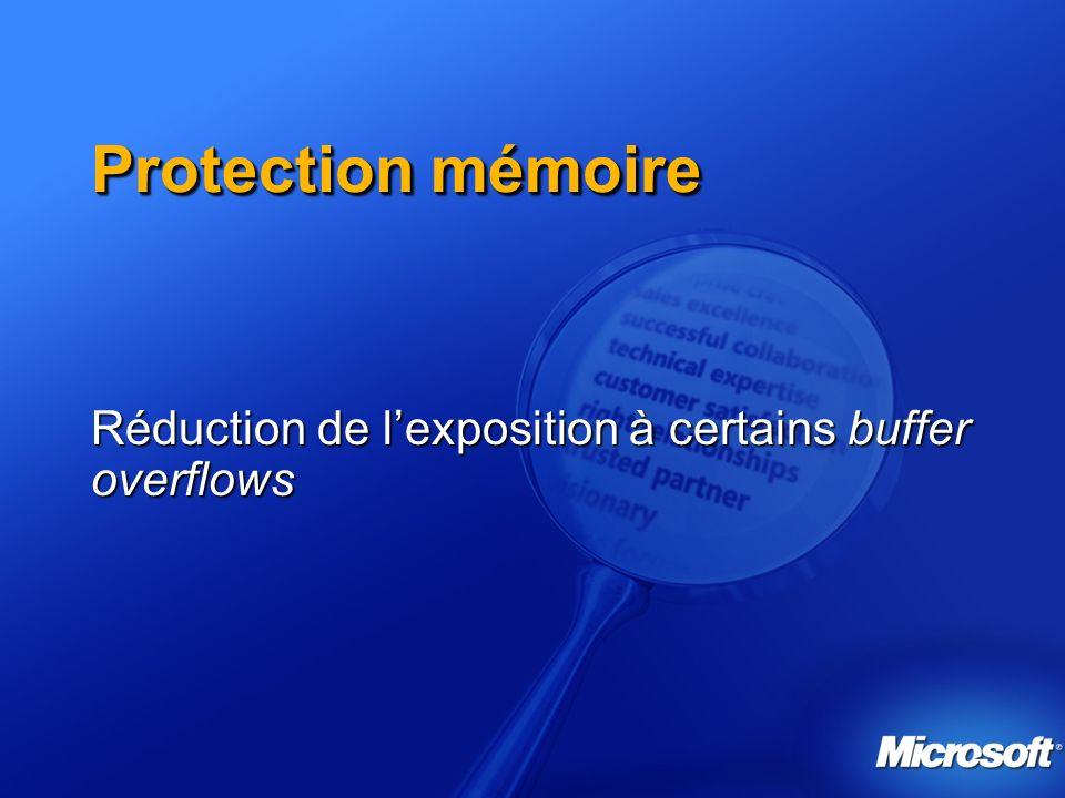 Protection mémoire Réduction de lexposition à certains buffer overflows