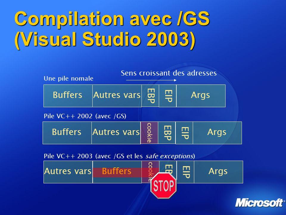 Compilation avec /GS (Visual Studio 2003) Sens croissant des adresses BuffersAutres vars EBP EIP Args Une pile nomale BuffersAutres vars EBP EIP Args cookie Pile VC++ 2002 (avec /GS) BuffersAutres vars EBP EIP Args cookie Pile VC++ 2003 (avec /GS et les safe exceptions)