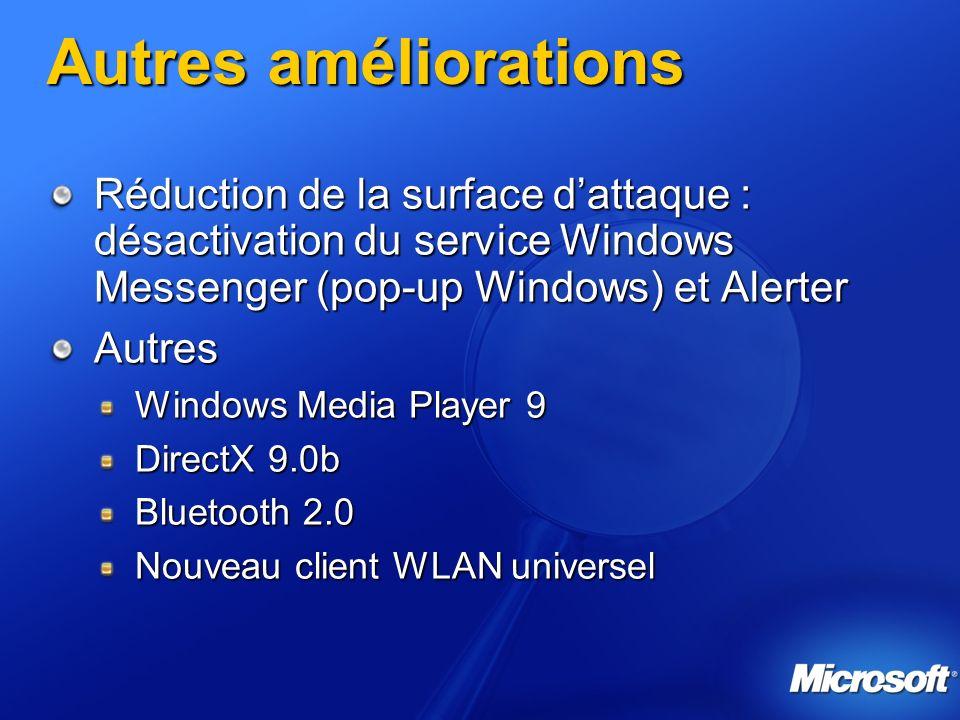 Autres améliorations Réduction de la surface dattaque : désactivation du service Windows Messenger (pop-up Windows) et Alerter Autres Windows Media Pl