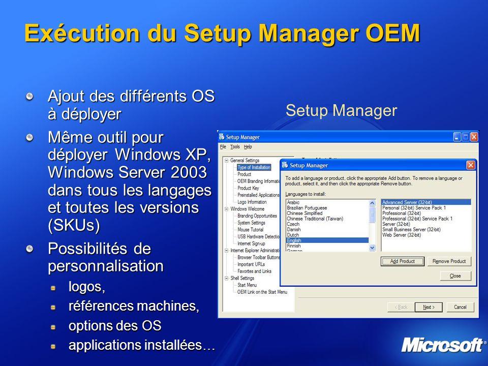Exécution du Setup Manager OEM Ajout des différents OS à déployer Même outil pour déployer Windows XP, Windows Server 2003 dans tous les langages et t