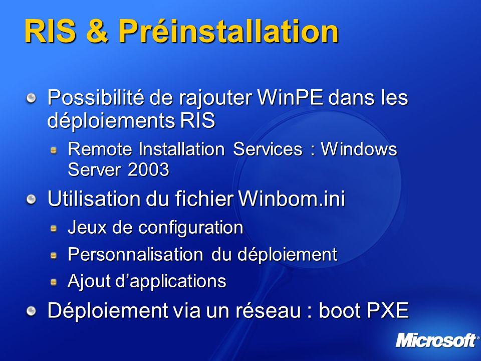 RIS & Préinstallation Possibilité de rajouter WinPE dans les déploiements RIS Remote Installation Services : Windows Server 2003 Utilisation du fichier Winbom.ini Jeux de configuration Personnalisation du déploiement Ajout dapplications Déploiement via un réseau : boot PXE