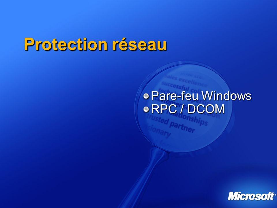 Autres améliorations Réduction de la surface dattaque : désactivation du service Windows Messenger (pop-up Windows) et Alerter Autres Windows Media Player 9 DirectX 9.0b Bluetooth 2.0 Nouveau client WLAN universel