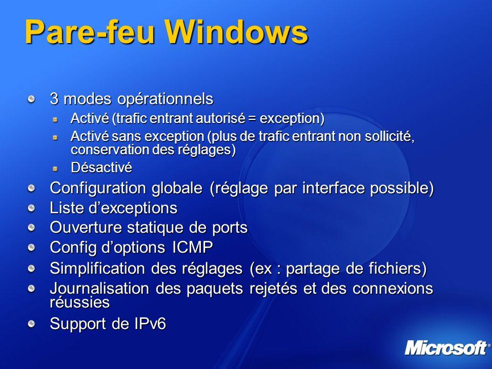 Pare-feu Windows 3 modes opérationnels Activé (trafic entrant autorisé = exception) Activé sans exception (plus de trafic entrant non sollicité, conse