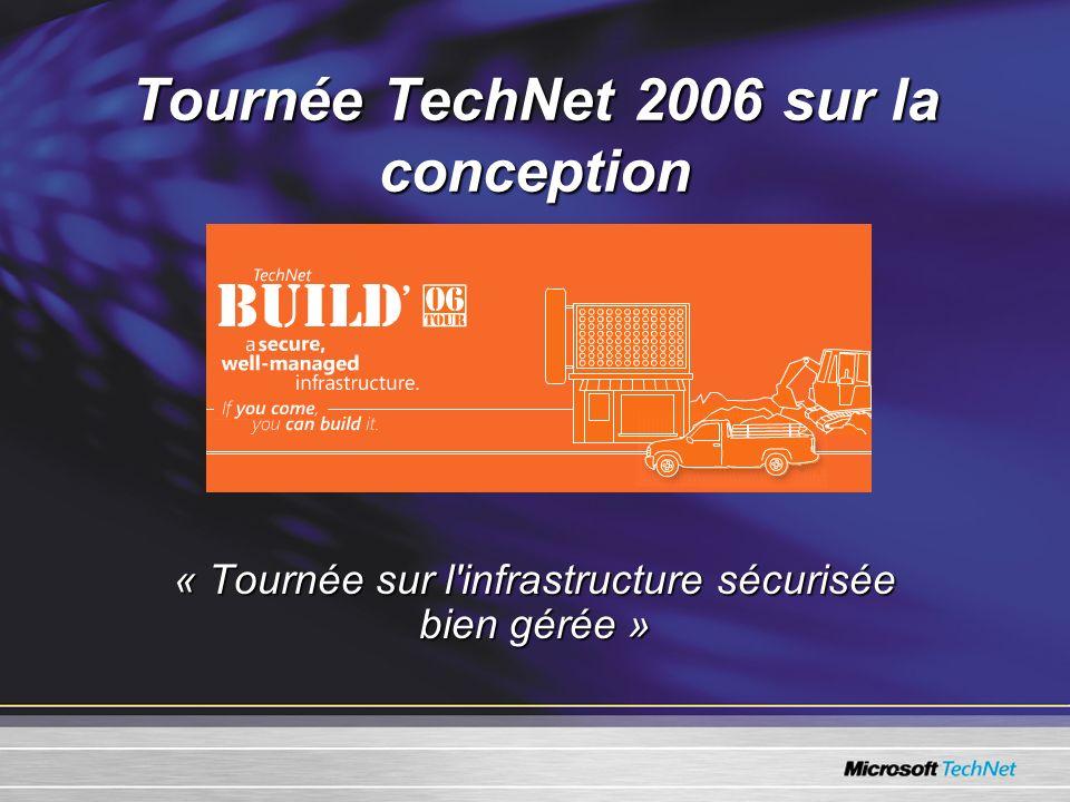 Tournée TechNet 2006 sur la conception « Tournée sur l infrastructure sécurisée bien gérée »