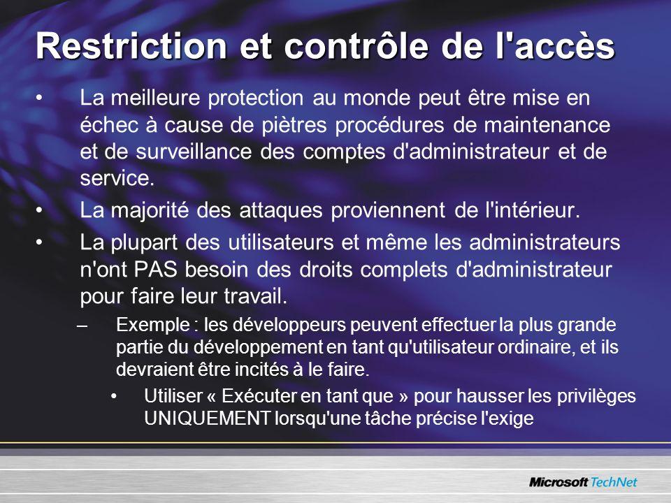 Restriction et contrôle de l accès La meilleure protection au monde peut être mise en échec à cause de piètres procédures de maintenance et de surveillance des comptes d administrateur et de service.