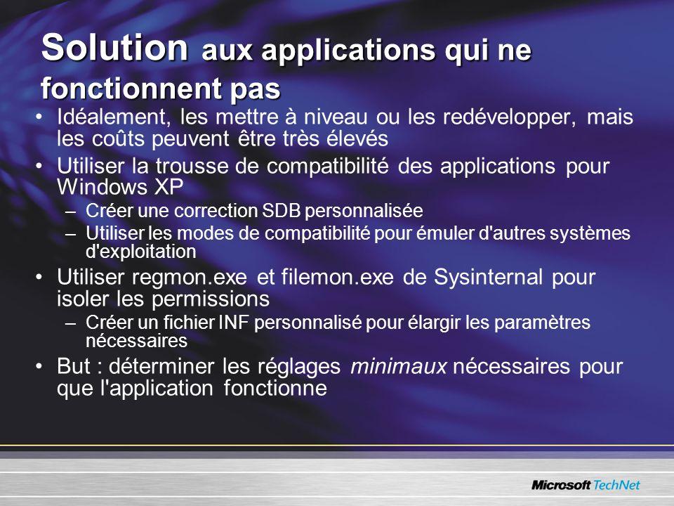 Solution aux applications qui ne fonctionnent pas Idéalement, les mettre à niveau ou les redévelopper, mais les coûts peuvent être très élevés Utiliser la trousse de compatibilité des applications pour Windows XP –Créer une correction SDB personnalisée –Utiliser les modes de compatibilité pour émuler d autres systèmes d exploitation Utiliser regmon.exe et filemon.exe de Sysinternal pour isoler les permissions –Créer un fichier INF personnalisé pour élargir les paramètres nécessaires But : déterminer les réglages minimaux nécessaires pour que l application fonctionne