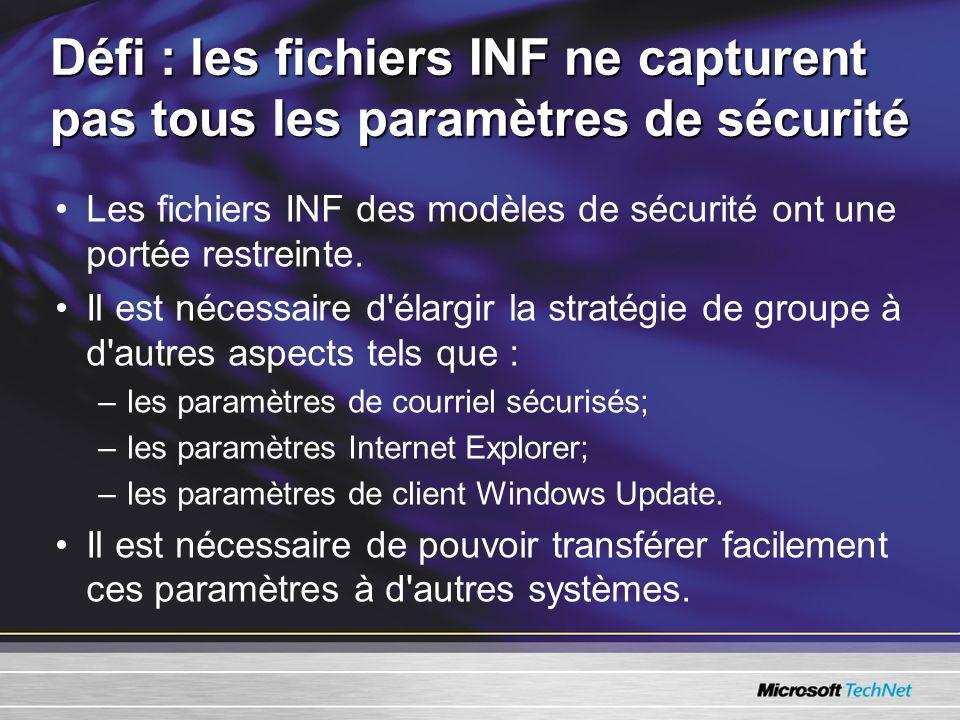 Défi : les fichiers INF ne capturent pas tous les paramètres de sécurité Les fichiers INF des modèles de sécurité ont une portée restreinte.