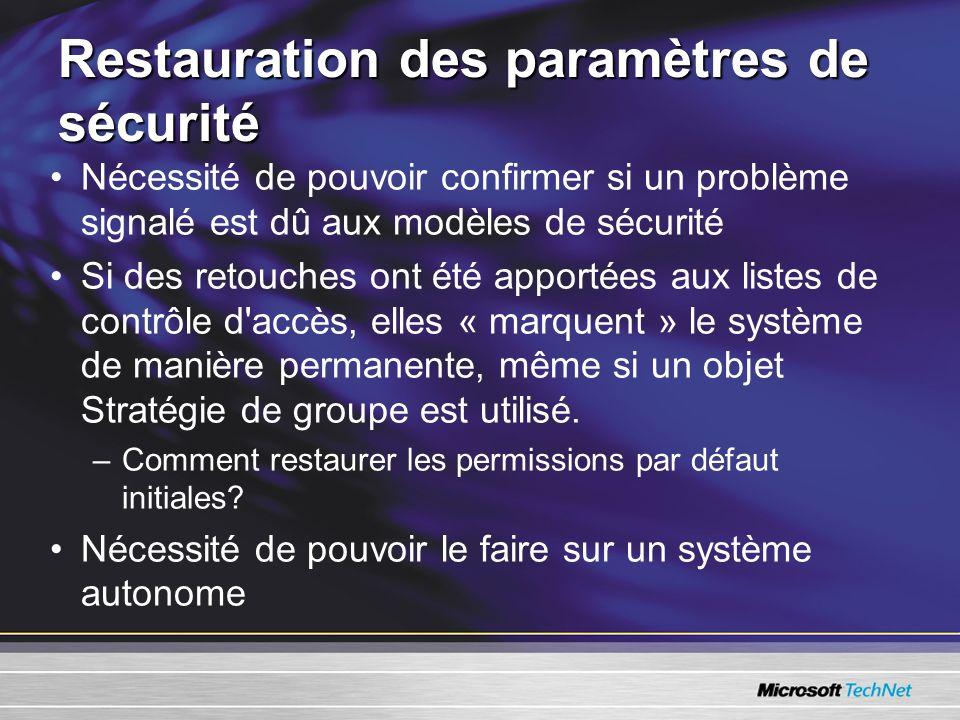 Restauration des paramètres de sécurité Nécessité de pouvoir confirmer si un problème signalé est dû aux modèles de sécurité Si des retouches ont été apportées aux listes de contrôle d accès, elles « marquent » le système de manière permanente, même si un objet Stratégie de groupe est utilisé.
