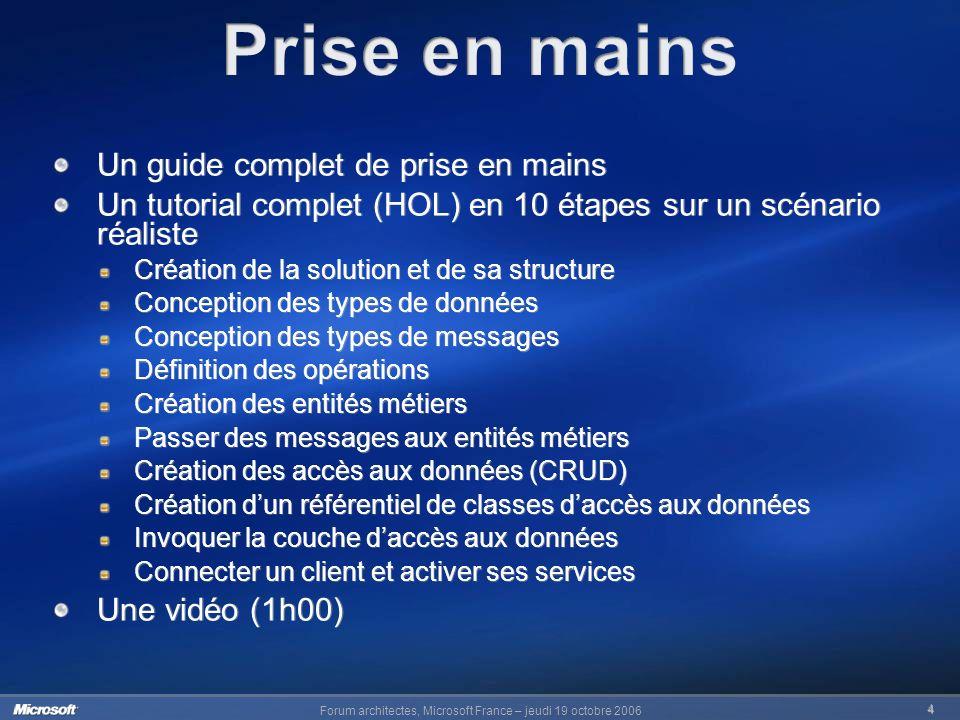 Forum architectes, Microsoft France – jeudi 19 octobre 2006 4 Un guide complet de prise en mains Un tutorial complet (HOL) en 10 étapes sur un scénari