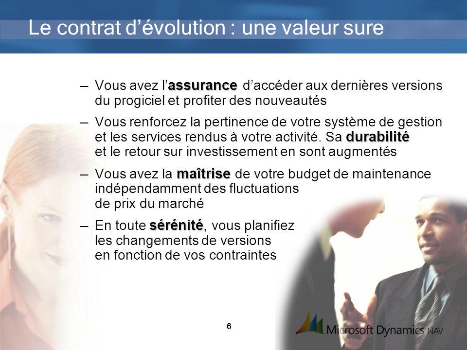 6 Le contrat dévolution : une valeur sure assurance Vous avez l assurance daccéder aux dernières versions du progiciel et profiter des nouveautés dura