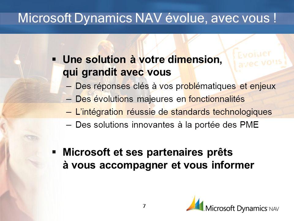 7 Microsoft Dynamics NAV évolue, avec vous ! Une solution à votre dimension, qui grandit avec vous Des réponses clés à vos problématiques et enjeux De