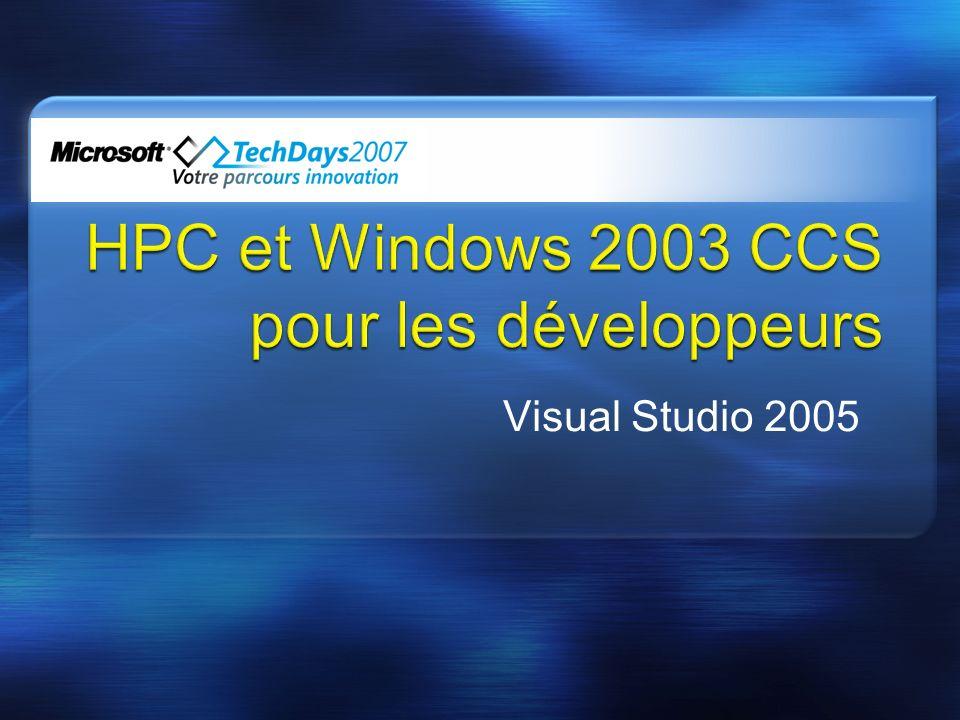 Pré requis : Objectifs de la session Introduction au HPC avec Windows CCS pour les développeurs et Visual Studio 2005 Démonstration(s) sur le développement dune application parallèle