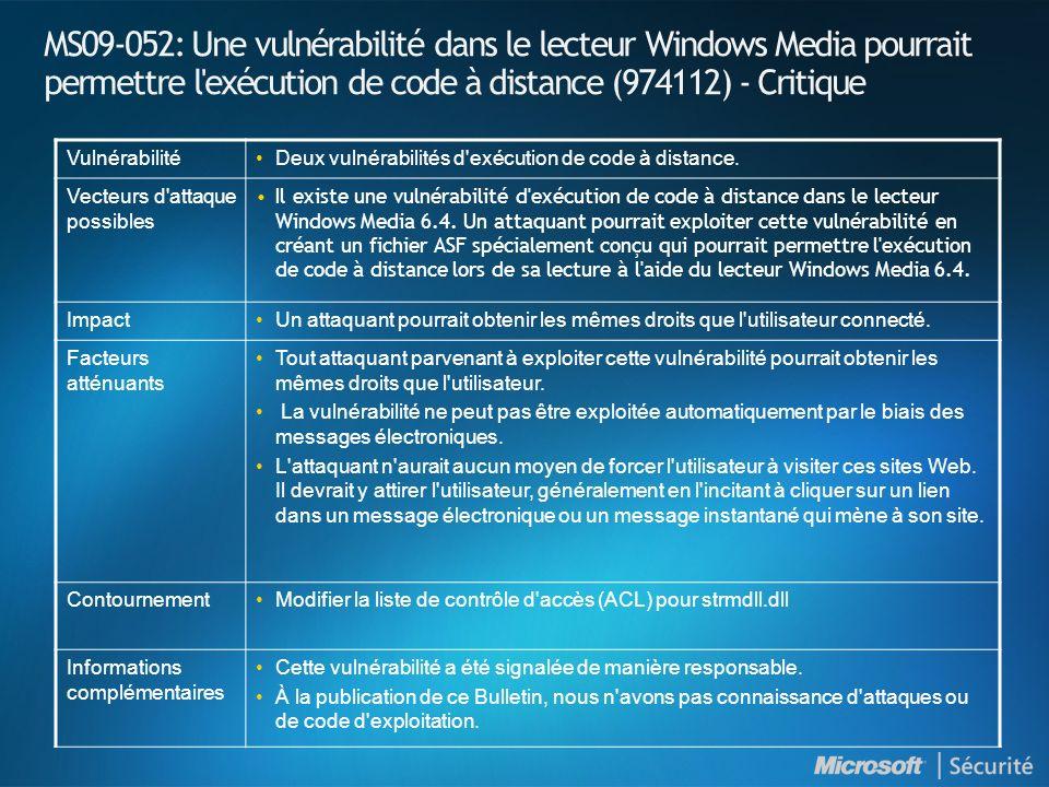 MS09-052: Une vulnérabilité dans le lecteur Windows Media pourrait permettre l'exécution de code à distance (974112) - Critique VulnérabilitéDeux vuln