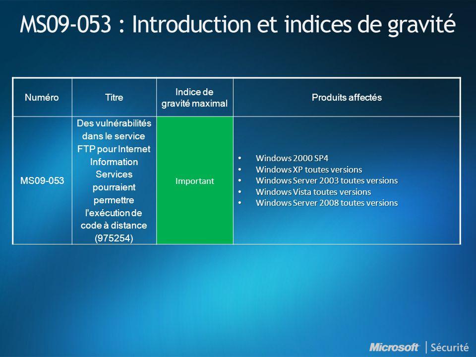 MS09-053 : Introduction et indices de gravité NuméroTitre Indice de gravité maximal Produits affectés MS09-053 Des vulnérabilités dans le service FTP