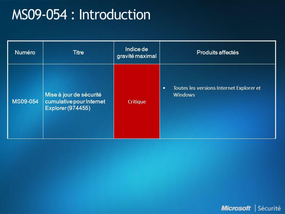 MS09-054 : Introduction NuméroTitre Indice de gravité maximal Produits affectés MS09-054 Mise à jour de sécurité cumulative pour Internet Explorer (97