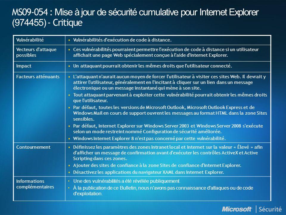 MS09-054 : Mise à jour de sécurité cumulative pour Internet Explorer (974455) - Critique VulnérabilitéVulnérabilités d'exécution de code à distance. V