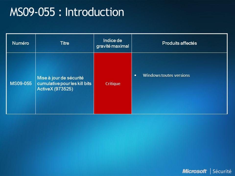 MS09-055 : Introduction NuméroTitre Indice de gravité maximal Produits affectés MS09-055 Mise à jour de sécurité cumulative pour les kill bits ActiveX