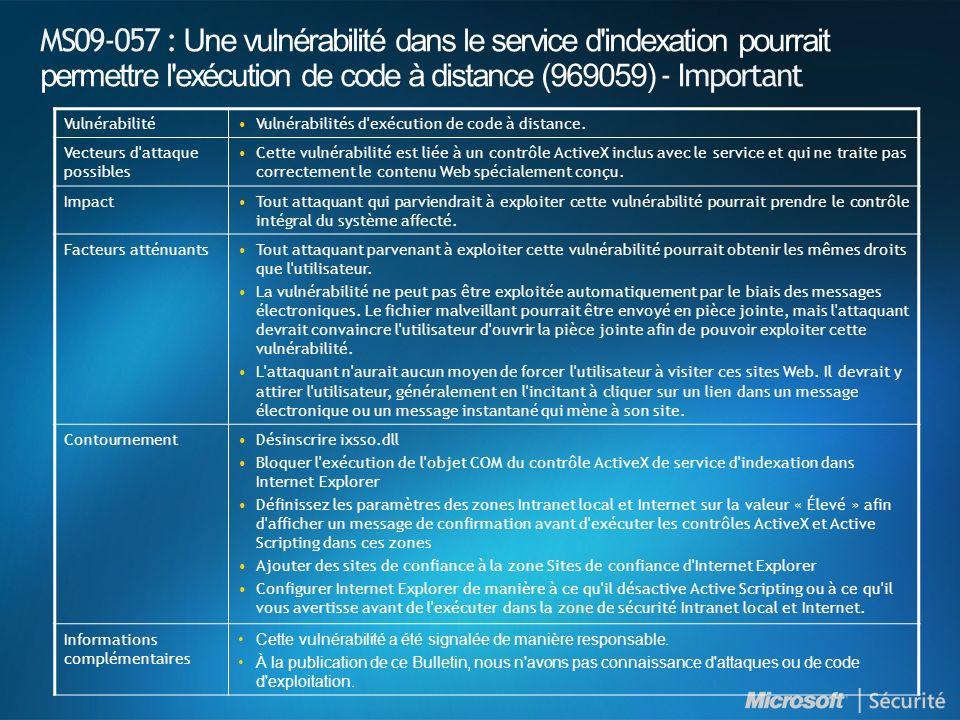 MS09-057 : Une vulnérabilité dans le service d'indexation pourrait permettre l'exécution de code à distance (969059) - Important VulnérabilitéVulnérab